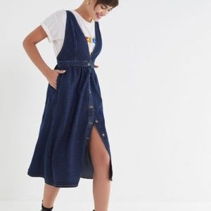 UO Danny Plunging Button Down Denim Midi Dress